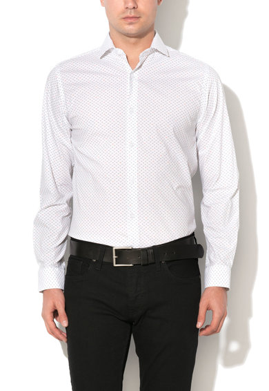Camasa slim fit alba cu model discret Pisa de la Selected Homme