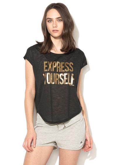 Tricou negru cu imprimeu text Sille de la Only Play