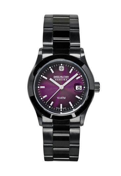 Ceas negru cu violet de la Swiss Military by Hanowa