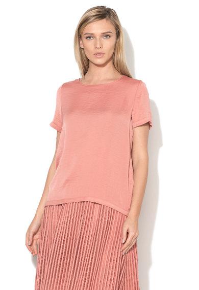 Bluza roz somon prafuit cu maneci scurte Melli de la Vila