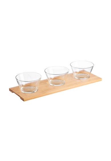 Set de boluri de sticla cu suport de bambus Entertain – 4 piese de la RAVENHEAD