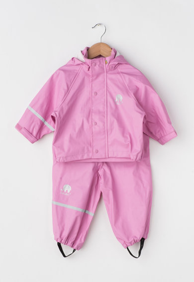 Set roz cu jacheta pentru ploaie cu gluga si pantaloni de la CeLaVi