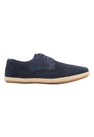 Pantofi bleumarin tip espadrile de piele intoarsa cu sireturi de la NEXT