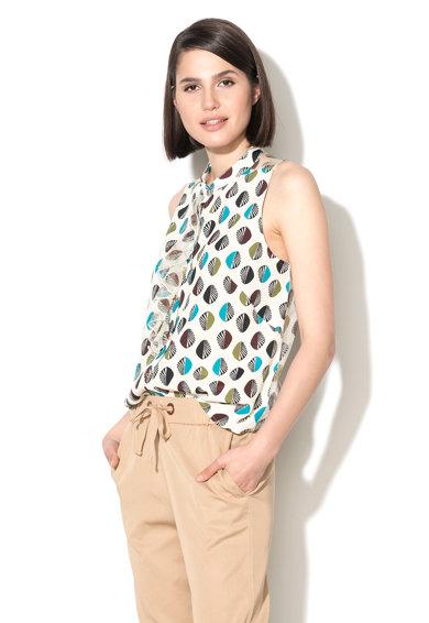 Camasa fara maneci alb unt si albastru cu model grafic de la Sisley