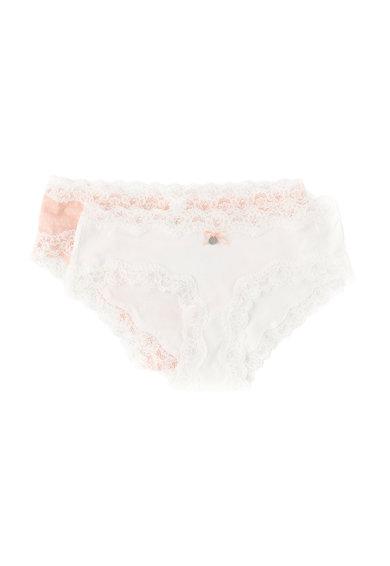 Set de chiloti hipster roz piersica si alb Sweet – 2 perechi de la Skiny