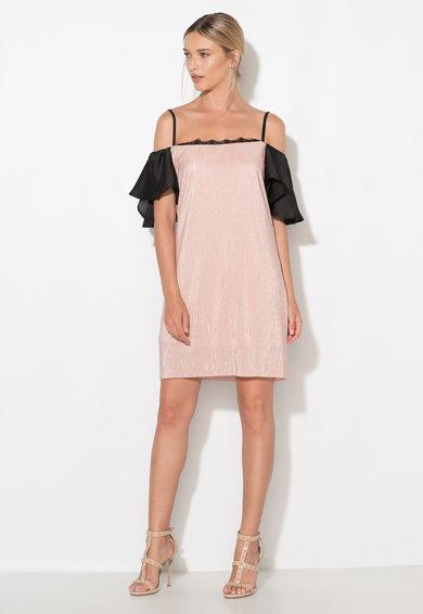 Rochie roz prafuit si negru cu decupaje pe umeri de la Zee Lane Collection