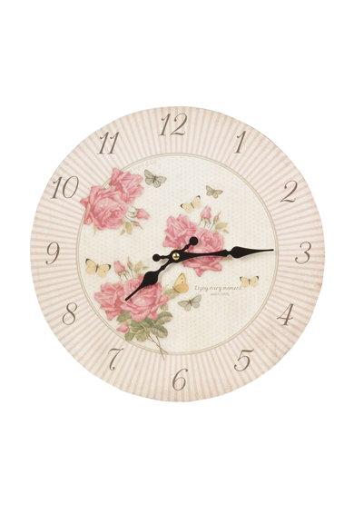 Ceas de perete alb fildes cu roz prafuit si trandafiri de la Clayre  Eef