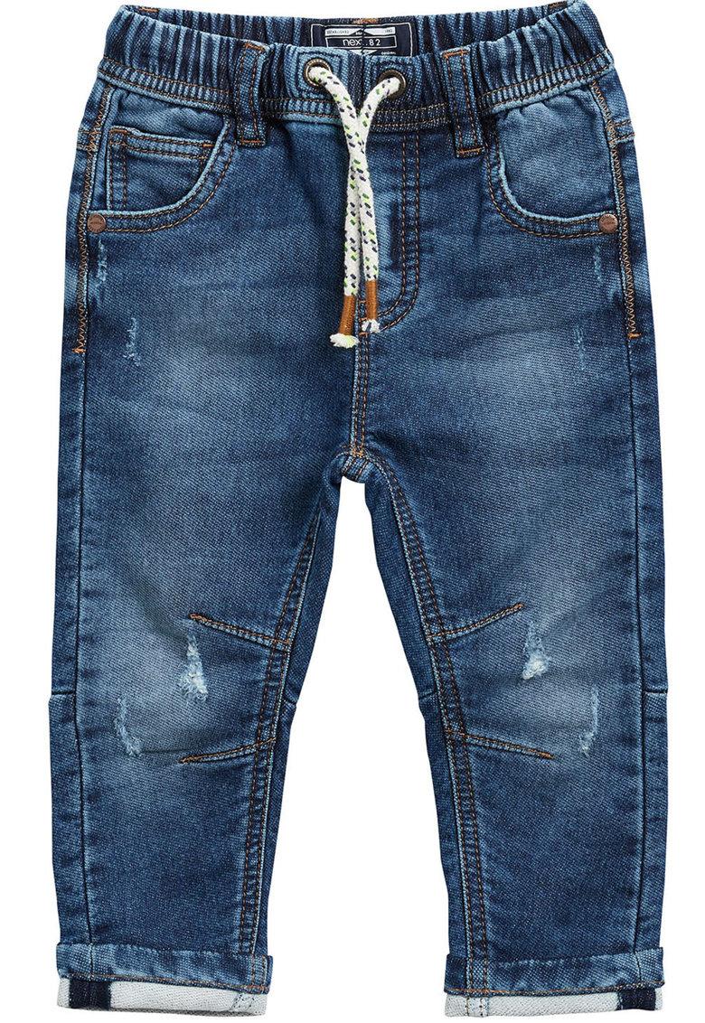 Pantaloni jogger cu aspect de denim si snur pentru ajustare in talie