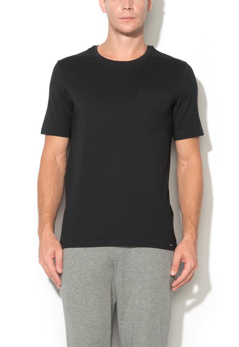 Skiny Tricou negru cu buzunar Recreate Sleep