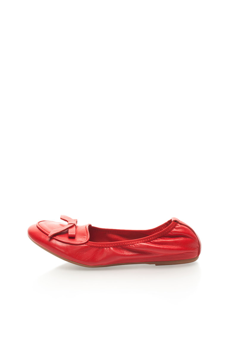Balerini elastici rosii din piele Zee Lane