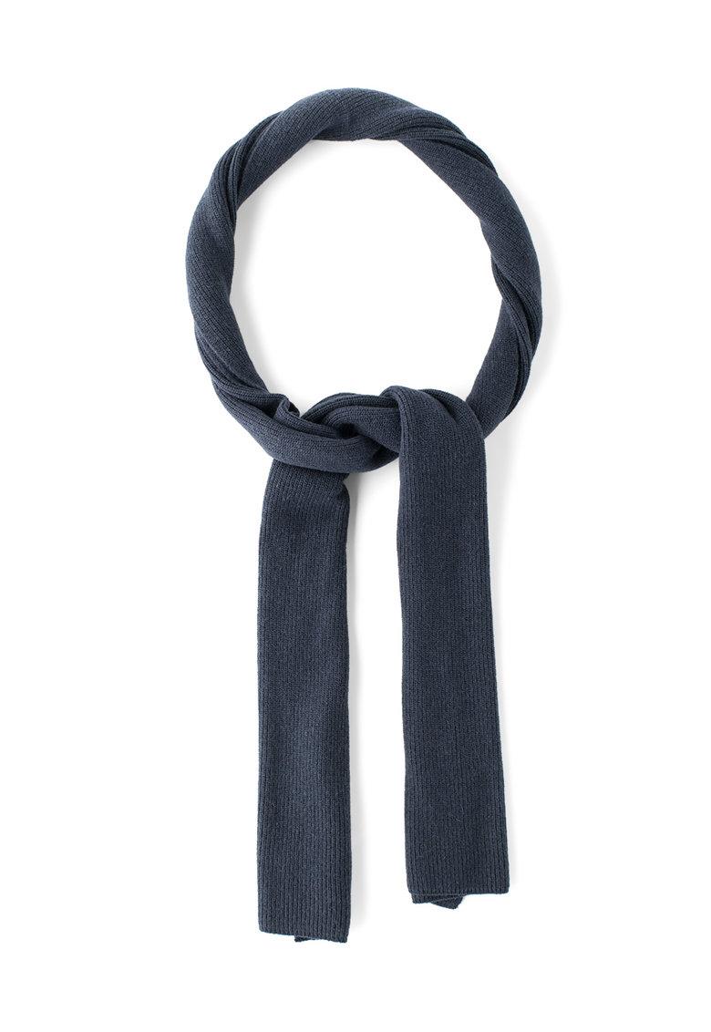Fular bleumarin inchis din amestec de lana