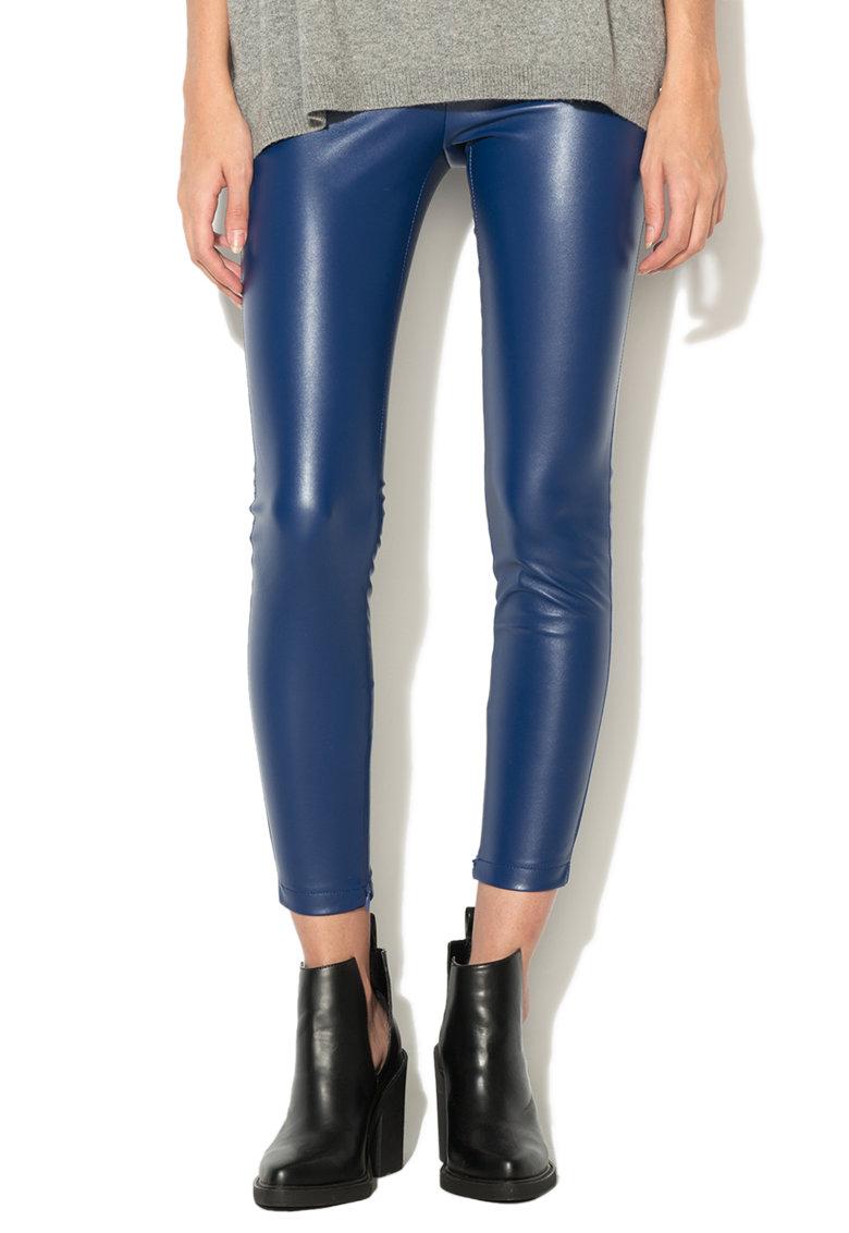 United Colors Of Benetton Pantaloni albastru persan de piele sintetica