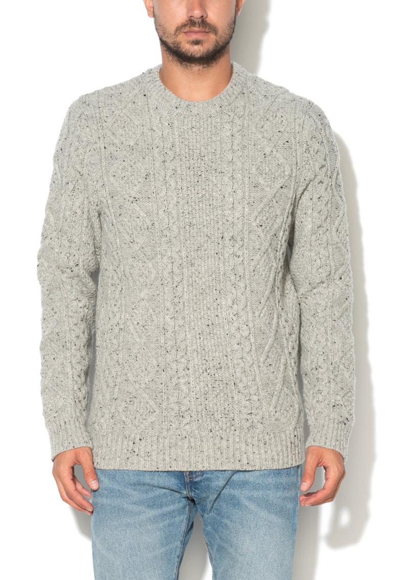 Pulover gri din amestec de lana cu model cu torsade de la Levis