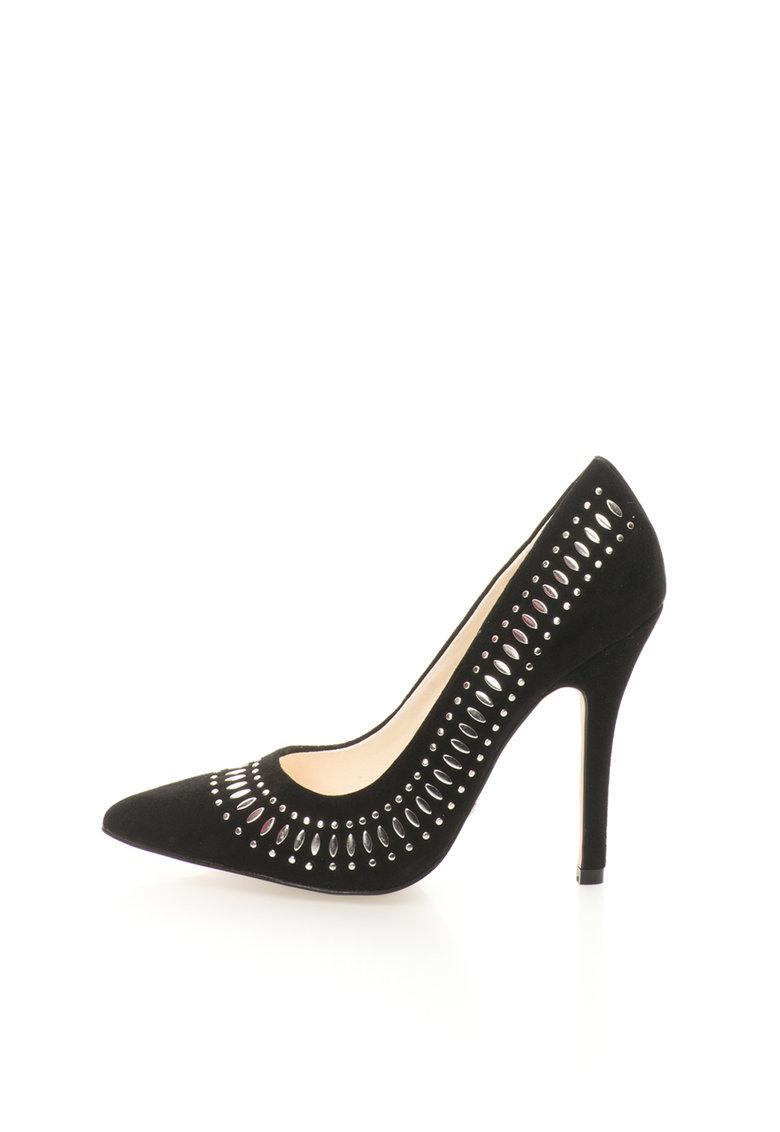 Pantofi stiletto negri de piele intoarsa cu detalii argintii
