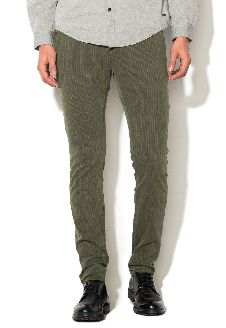 Pantaloni verde militar cu model discret de la Zee Lane Denim
