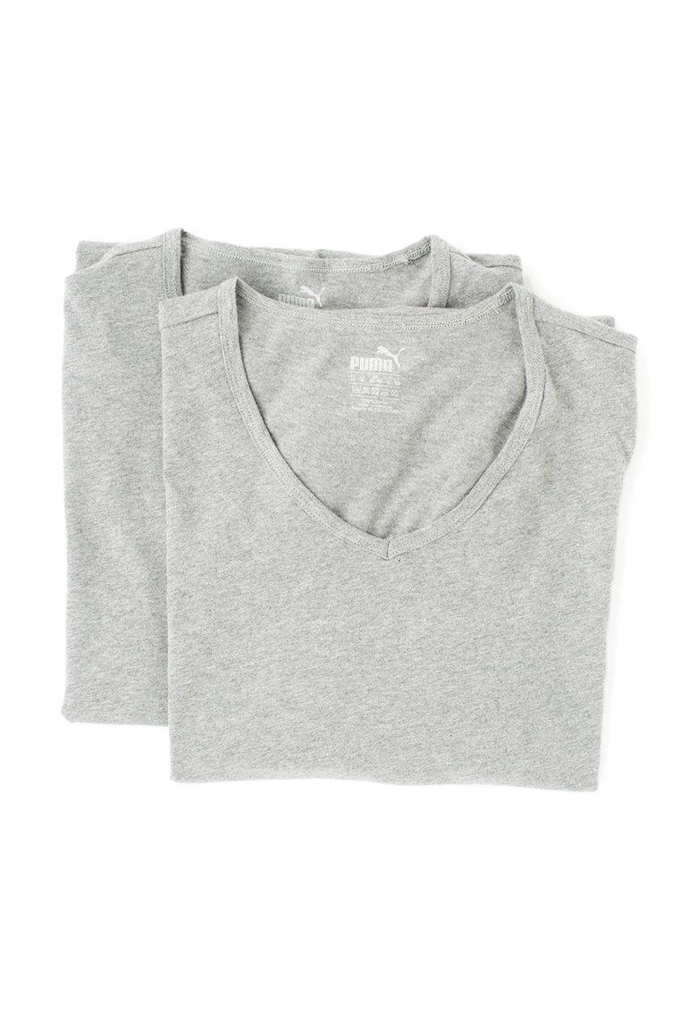 Set de tricouri regular fit gri melange – 2 piese Puma