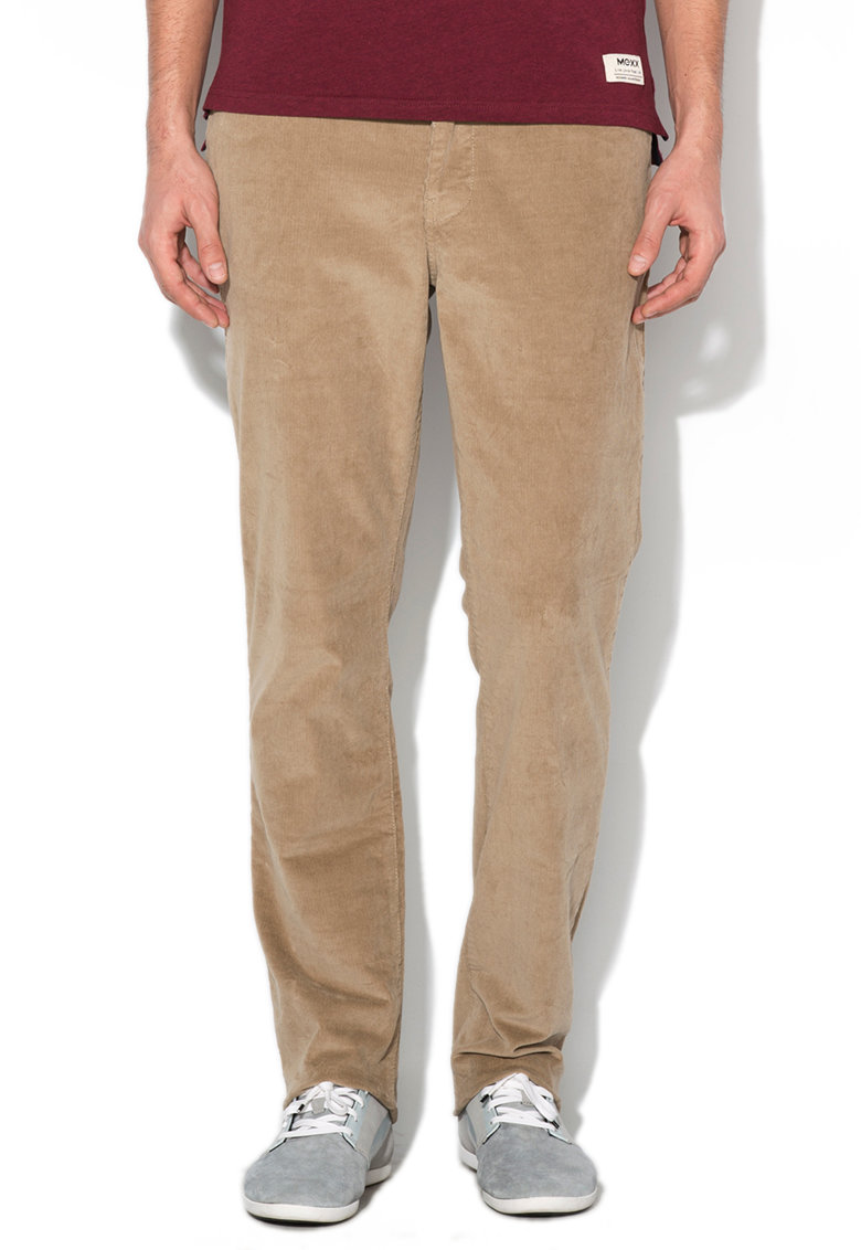 Pantaloni regular fit maro deschis din reiat