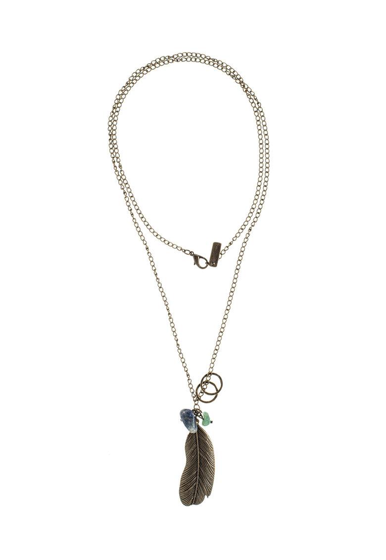 Pepe Jeans London Colier maro bronz cu pandantiv in forma de pana 0