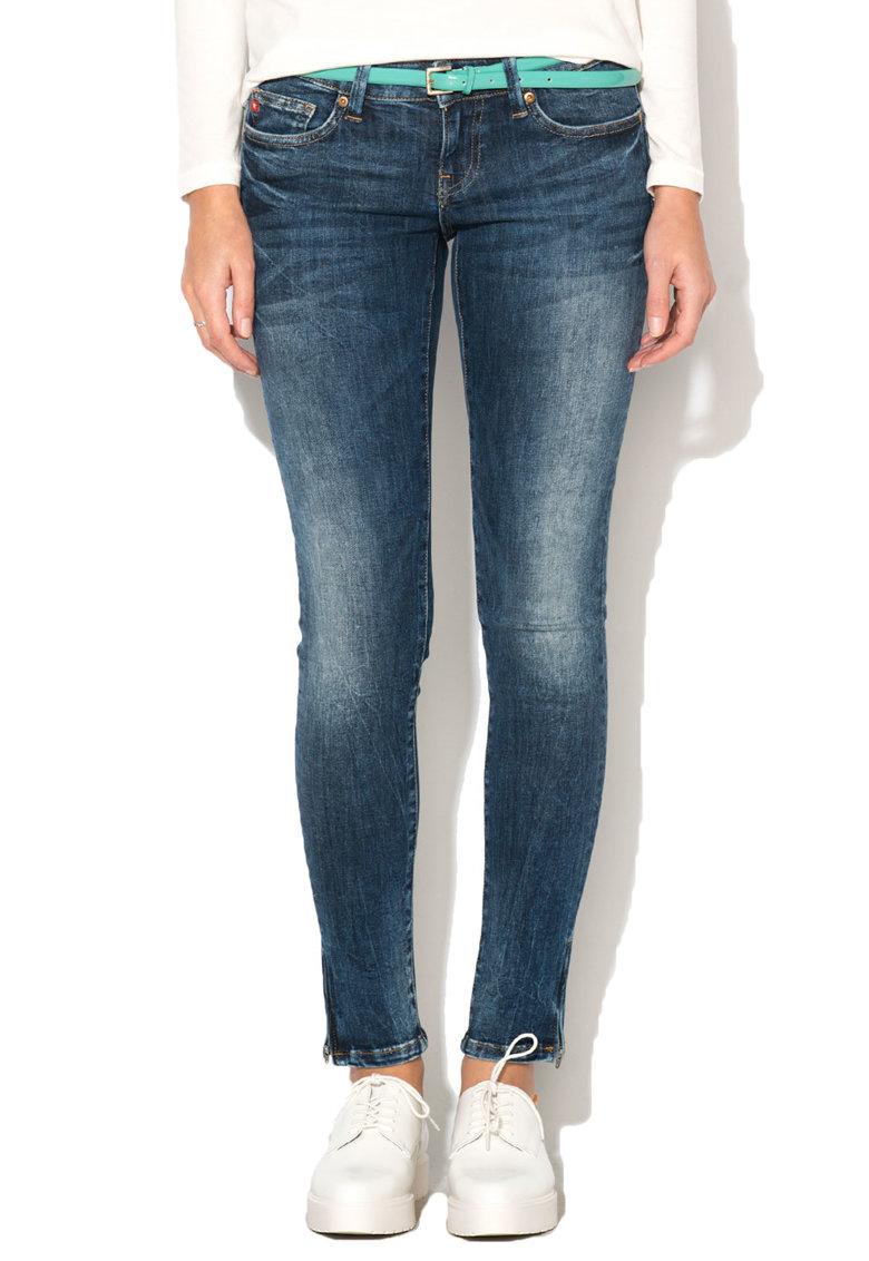 Jeansi crop albastri cu croiala skinny Livia 642 de la Big Star