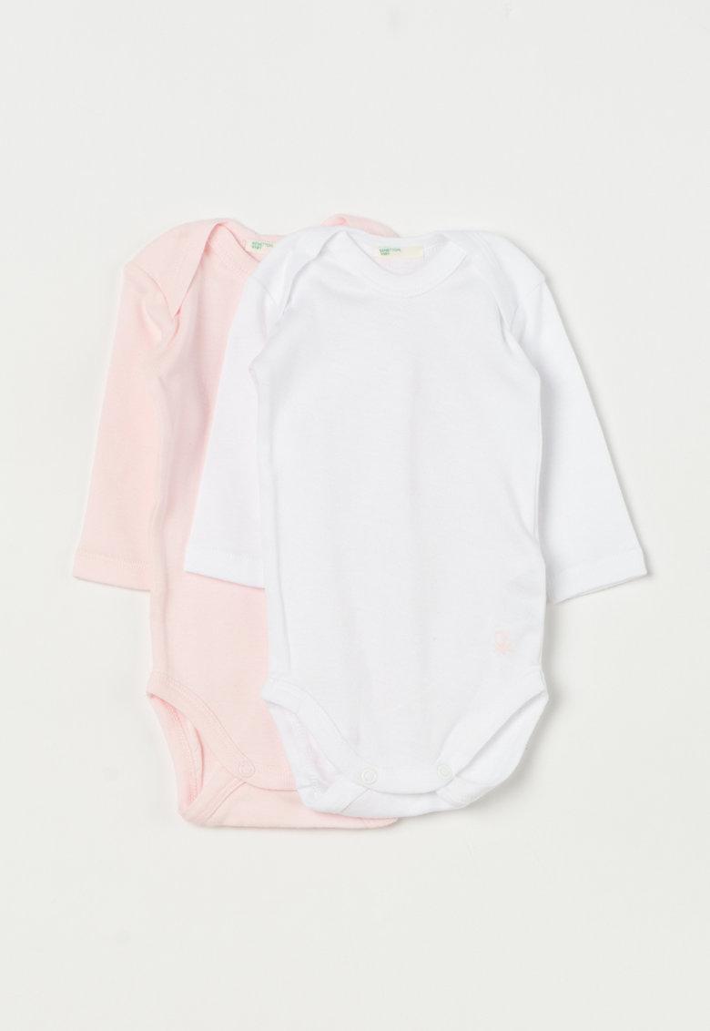 Undercolors of Benetton Set de bodyuri roz cu alb cu maneci lungi – 2 piese