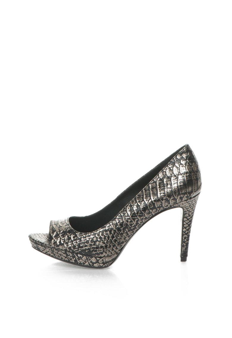 Calvin Klein Pantofi negru cu argintiu de piele cu model sarpe Pollina