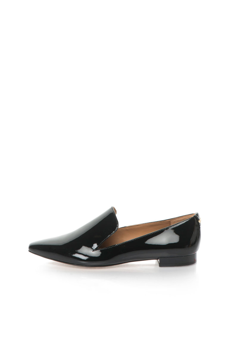 Calvin Klein Pantofi negri de piele lacuita cu varf ascutit Elin