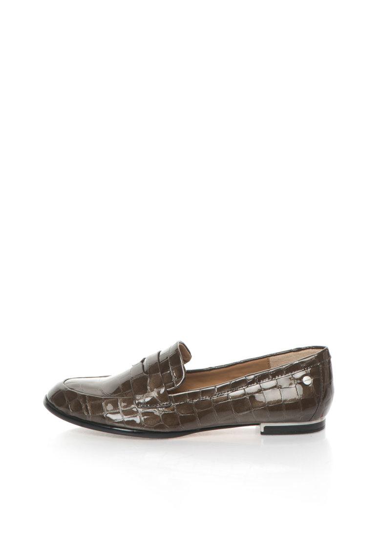 Calvin Klein Pantofi loafer maro de piele lacuita cu model crocodil Celia
