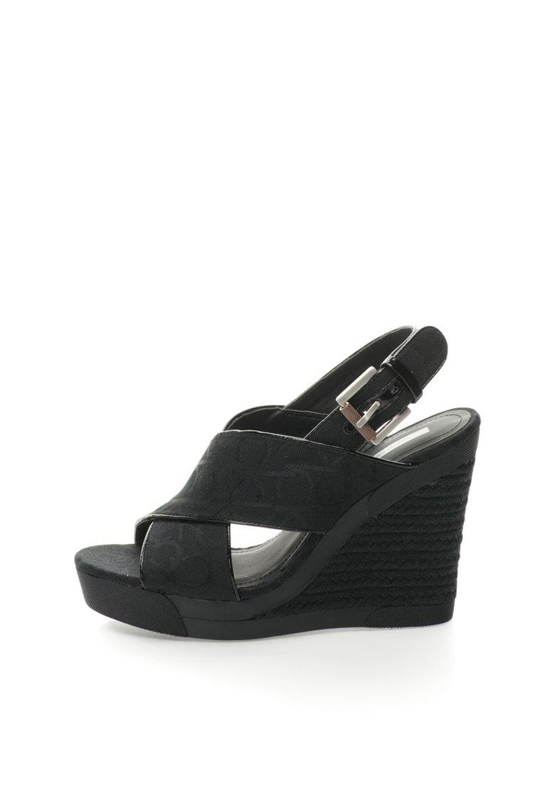 Sandale wedge negre cu logo Elaine de la Calvin Klein Jeans
