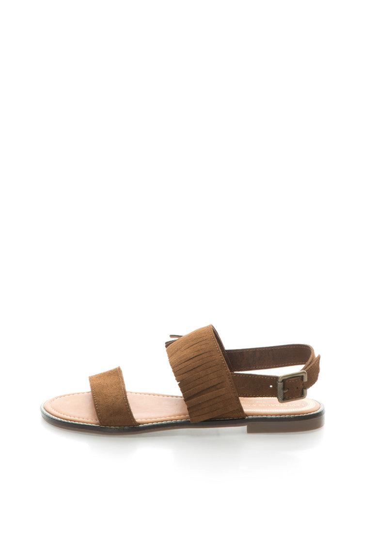 Sandale maro de piele intoarsa