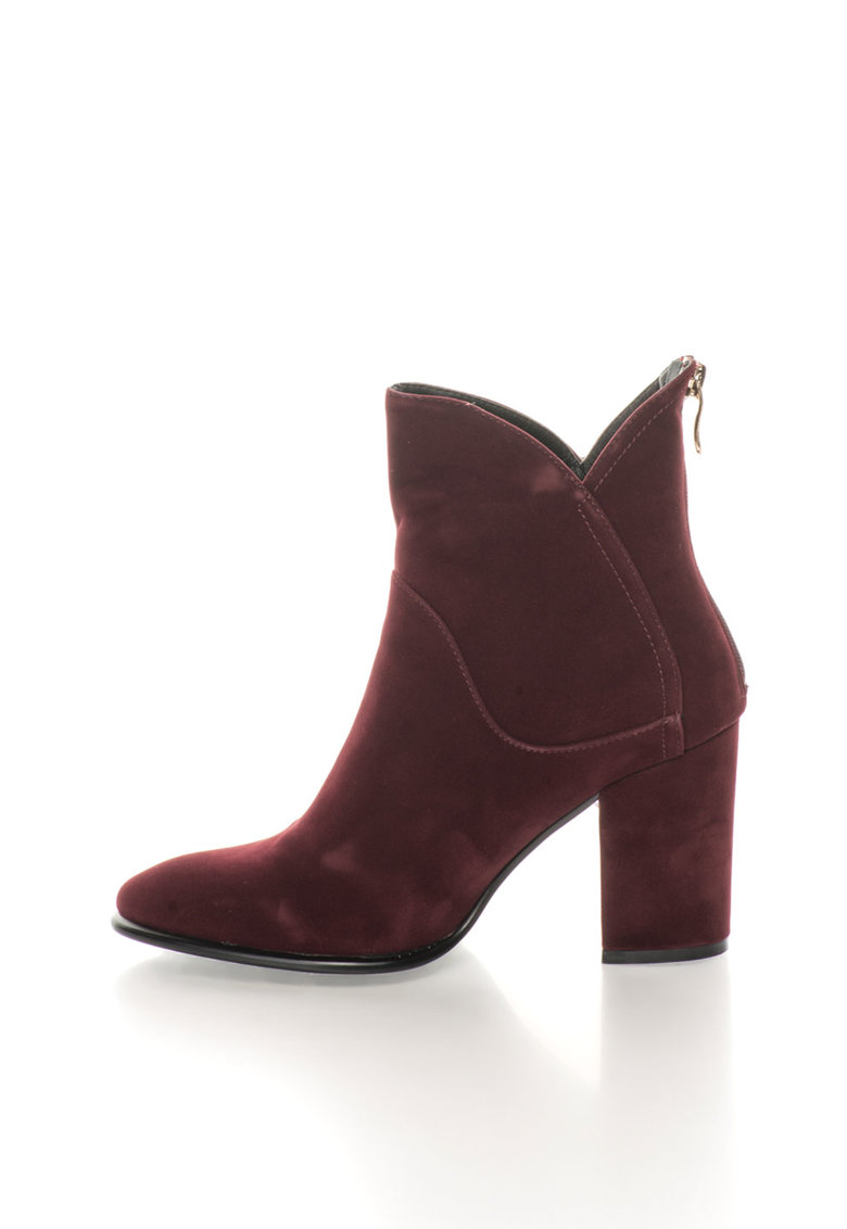 Botine rosu Bordeaux catifelate Bertille