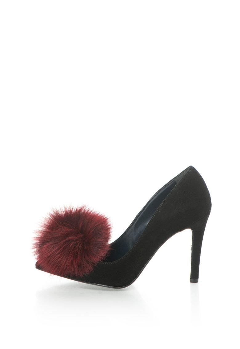 Pantofi stiletto negri de piele intoarsa Anne de la Zee Lane