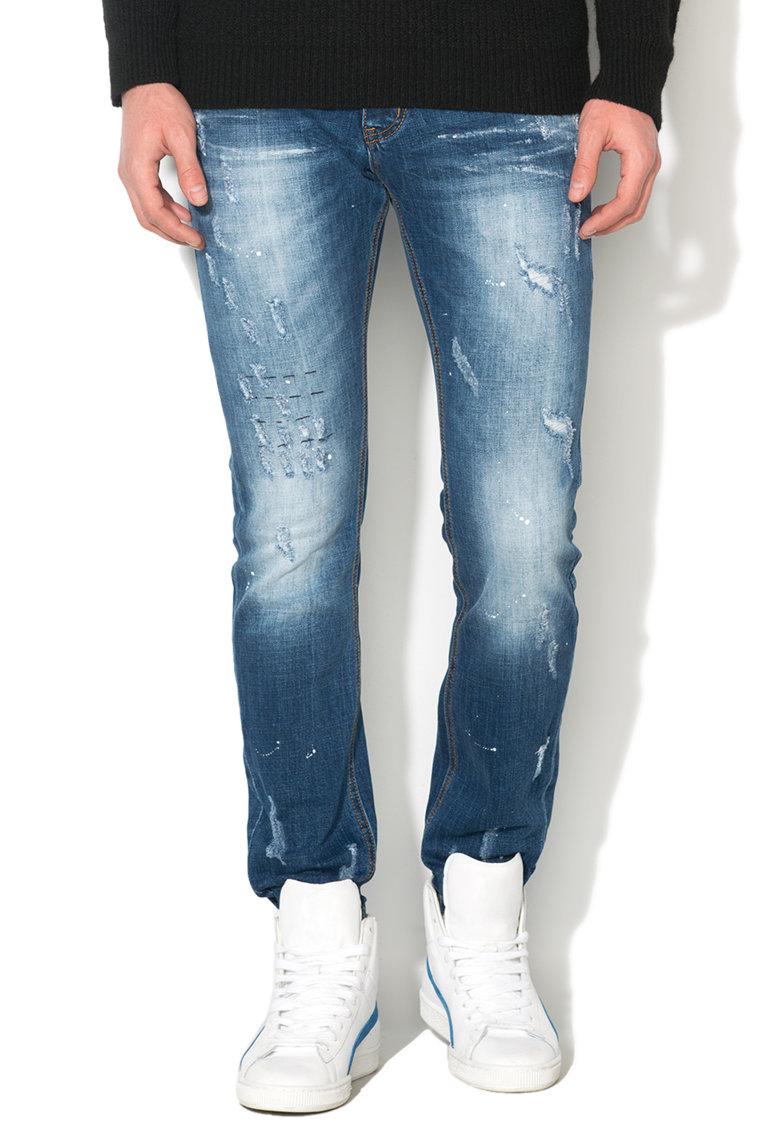 Zee Lane Denim Jeansi albastri cu aspect deteriorat si patat