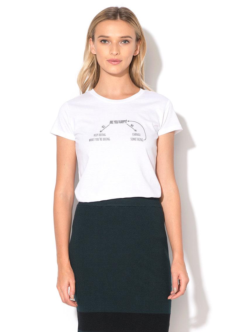 Tricou alb cu imprimeu Are You Happy
