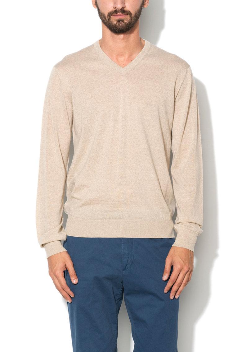 Hackett London Pulover bej melange tricotat fin din lana merinos