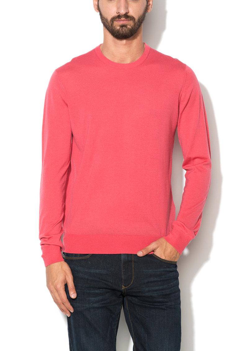 Hackett London Pulover rosu capsuna tricotat fin din lana merinos