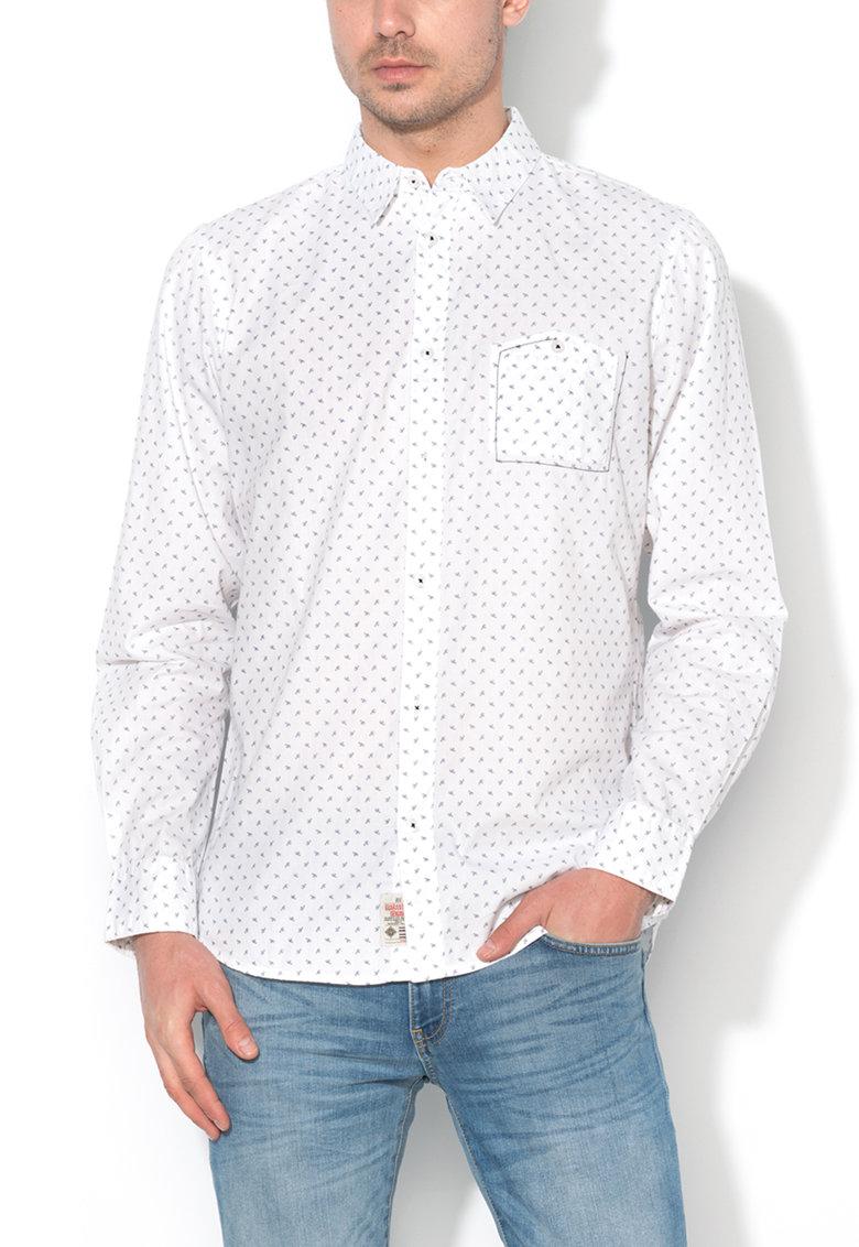 Camasa regular fit alb cu albastru si model discret Karahan de la Big Star