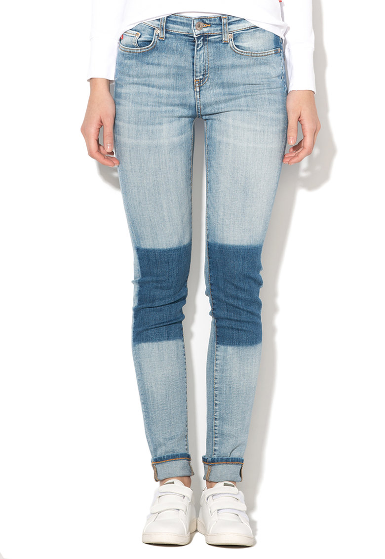 Jeansi slim fit skinny conici bleu cu aspect uzat Adela de la Big Star