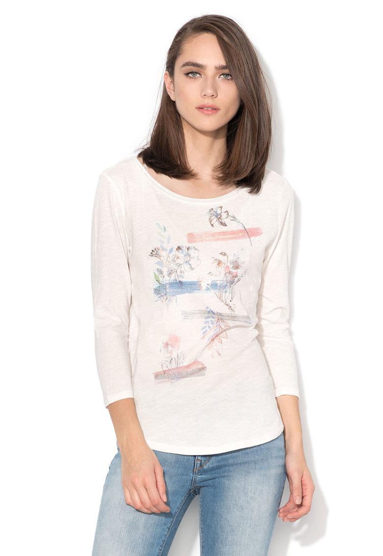 Bluza alba cu imprimeu frontal multicolor de la Esprit