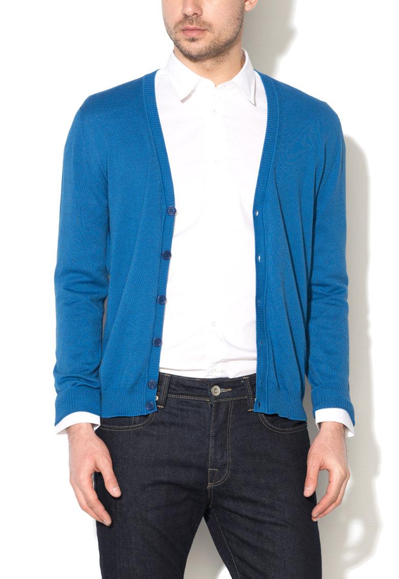 United Colors Of Benetton Cardigan albastru cobalt tricotat fin
