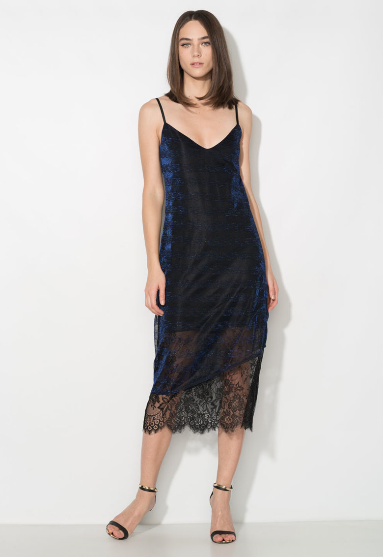 Zee Lane Collection Rochie tip furou neagra cu insertii din fire albastre