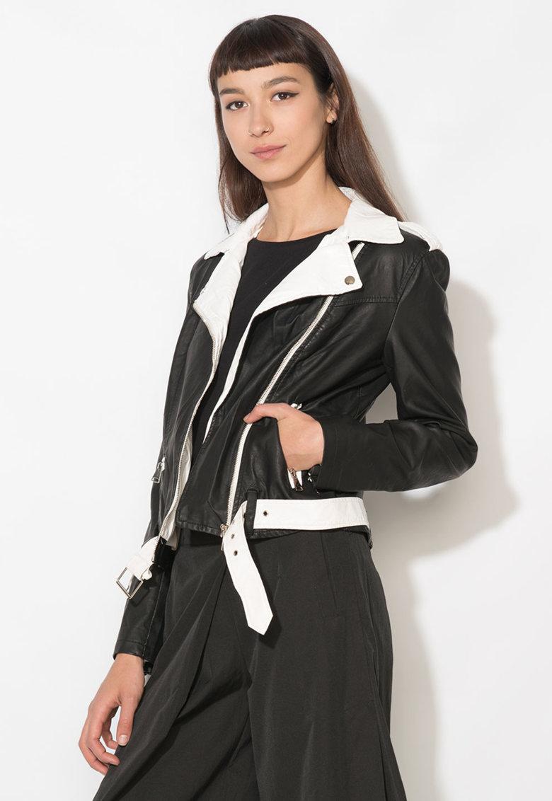 Jacheta negru cu alb de piele sintetica