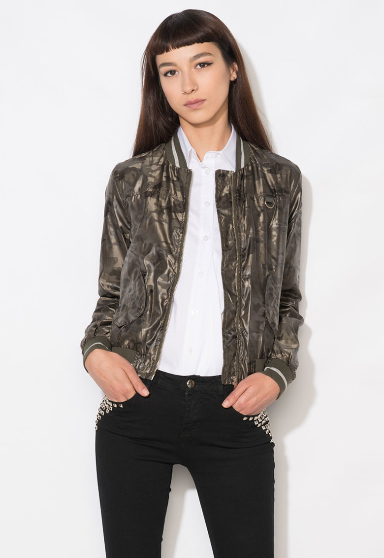 Zee Lane Denim Jacheta bomber verde cu model camuflaj
