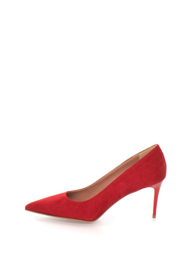 Pantofi rosii de piele intoarsa si cu varf ascutit Sofy de la Zee Lane