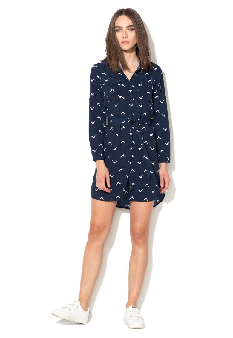 Iska Rochie tip camasa bleumarin cu model cu pasari