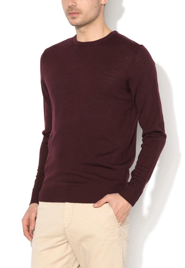 JackJones Pulover rosu Bordeaux de lana merinos Mark