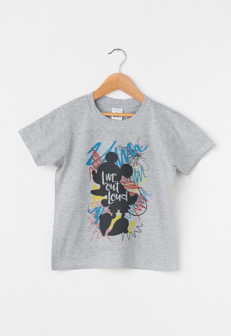 Tricou gri melange cu imprimeu multicolor Minnie