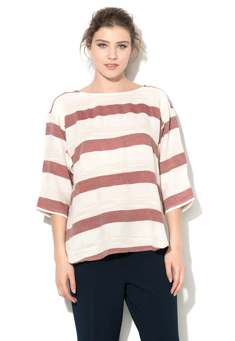 Bluza alb fildes cu rosu Bordeaux in dungi de la Esprit