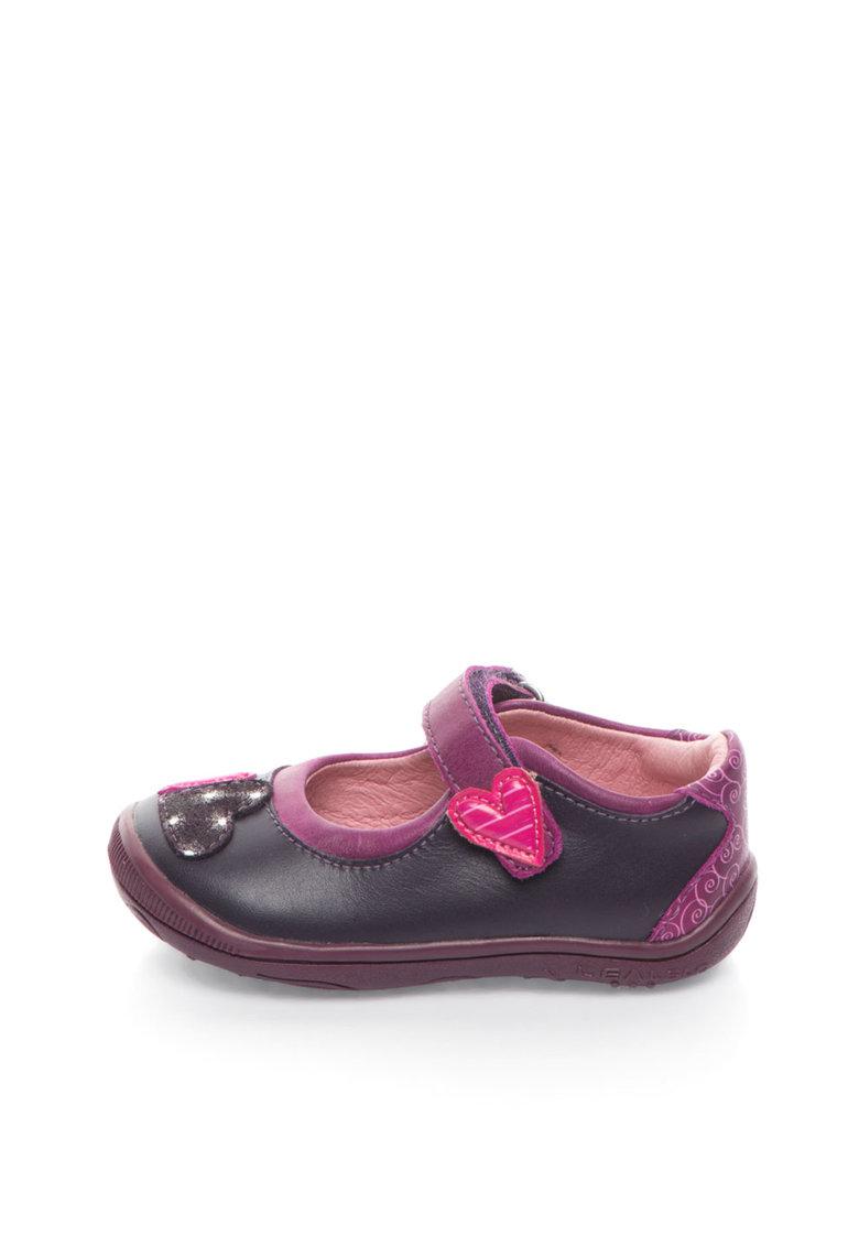 Pantofi Mary Jane violet aubergine de piele cu desene