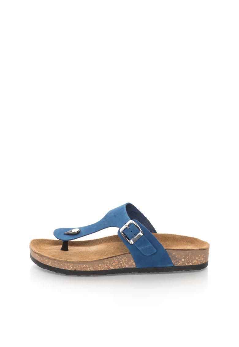 Zee Lane Papuci flip-flop albastri de piele nabuc