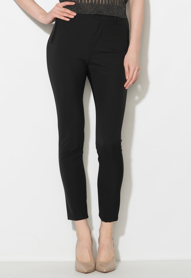 Zee Lane Collection Pantaloni crop negri cu buzunare false